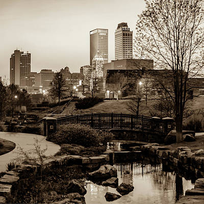Photograph - Tulsa Skyline Park View - Sepia by Gregory Ballos