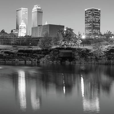 Photograph - Tulsa Skyline Reflections At Dusk - Square Format 1x1 - Black And White by Gregory Ballos