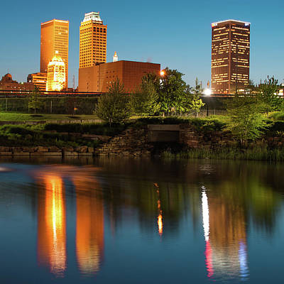 Photograph - Tulsa Skyline Reflections At Dusk - Square Format 1x1 by Gregory Ballos