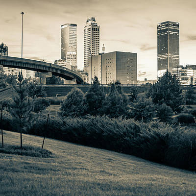 Photograph - Tulsa Skyline Sepia City Landscape 1x1 by Gregory Ballos