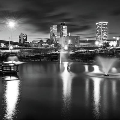 Photograph - Tulsa Skyline Square Black And White by Gregory Ballos