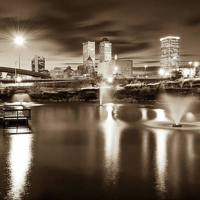 Photograph - Tulsa Skyline Square Vintage Sepia by Gregory Ballos