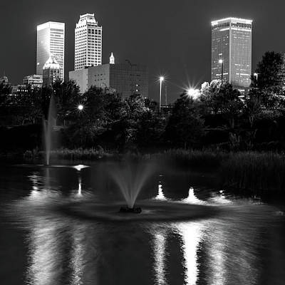 Photograph - Tulsa Skyline Wrinkled Reflections - Black And White Square Format by Gregory Ballos