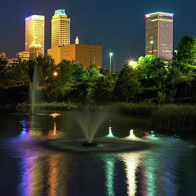Photograph - Tulsa Skyline Wrinkled Reflections - Square Format by Gregory Ballos