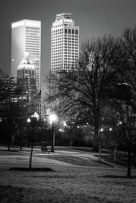 Photograph - Tulsa Towers From Centennial Park - Black And White by Gregory Ballos