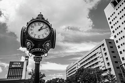 Photograph - Tulsa Utica Square Vintage Clock And Buildings - Black And White by Gregory Ballos