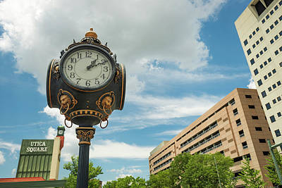 Photograph - Tulsa Utica Square Vintage Clock And Buildings by Gregory Ballos