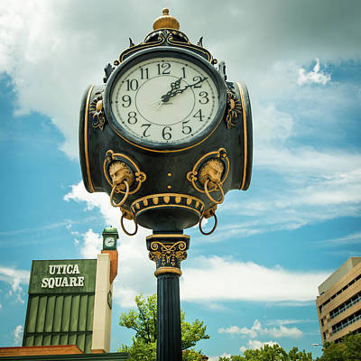 Photograph - Tulsa Utica Square Vintage Clock - Square Art by Gregory Ballos