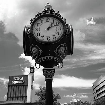 Photograph - Tulsa Utica Square Vintage Clock - Square Black And White Art by Gregory Ballos