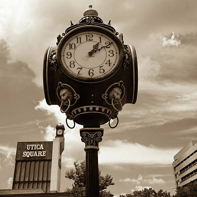 Photograph - Tulsa Utica Square Vintage Clock - Square Sepia Art by Gregory Ballos