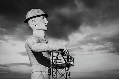 Photograph - Tulsa's Golden Driller In Black And White - Tulsa Oklahoma Art by Gregory Ballos
