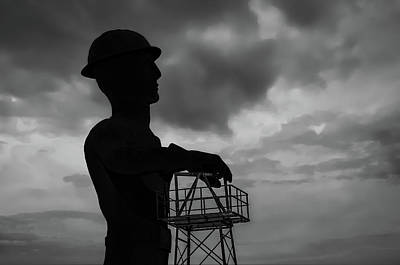 Photograph - Tulsa's Golden Driller Silhoutte In Black And White - Tulsa Oklahoma Art by Gregory Ballos