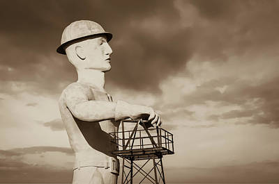 Photograph - Tulsa's Golden Driller Up Close - Tulsa Oklahoma Art - Sepia by Gregory Ballos