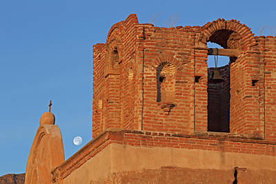 Photograph - Tumacacori Sunrise Moon by Tom Daniel