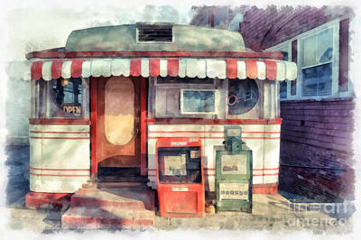 Newspaper Painting - Tumble Inn Diner Watercolor by Edward Fielding