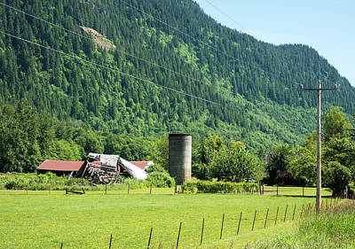 Photograph - Tumbledown Barn And Silo by Tom Cochran