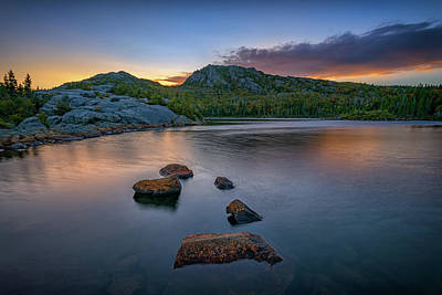 Photograph - Tumbledown Mountain At Sunset by Rick Berk