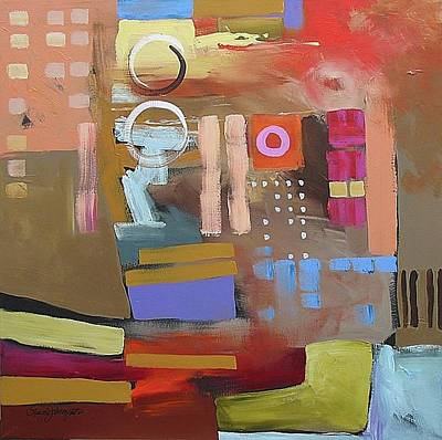 Abstract Expressionist Painting - Tumbling Backwards by Linda Monfort