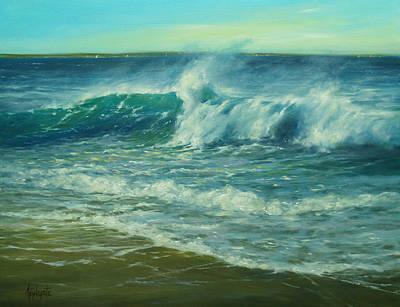 Cape Cod Painting - Tumbling Breakers by Barbara Applegate