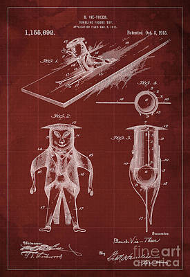 Tumbling-figure Toy Patent Year 1915 Blueprint Red Background Art Print