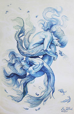 Painting - Tumbling Tritons by Marc DeBauch