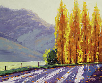 Nature Scene Painting - Tumut Autumn Poplars by Graham Gercken