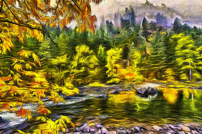Northwest Digital Art - Tumwater Autumn by Mark Kiver
