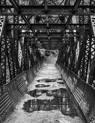 Black Rock Yellow Leaves Water Photograph - Tumwater Canoyn Pipeline Bridge Black And White by Mark Kiver