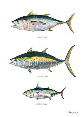 Tuna Painting - Tuna Fishes by Juan Bosco