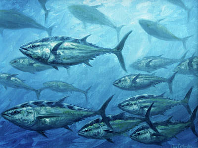 Wall Art - Painting - Tuna School by Guy Crittenden