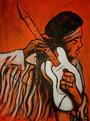 Guitar God Painting - Tune Up by Pete Maier