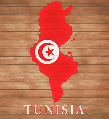 Mixed Media - Tunisia Rustic Map On Wood by Dan Sproul