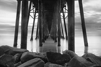 Piers Wall Art - Photograph - Tunnel Of Light - Black And White by Larry Marshall