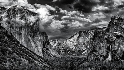 Photograph - Tunnel View #1 Black And White by Jack Peterson