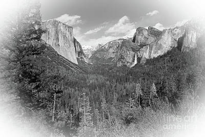 Photograph - Tunnel View White Vignette by Cheryl Del Toro