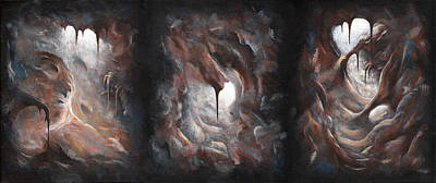 Painting - Tunnel Vision - Triptych by Joe Burgess