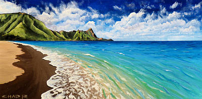 Painting - Tunnels Beach by Chad Berglund