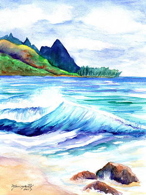 Painting - Tunnels Beach by Marionette Taboniar