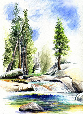 Watercolor Drawing - Tuolumne River On An August Afternoon by Logan Parsons