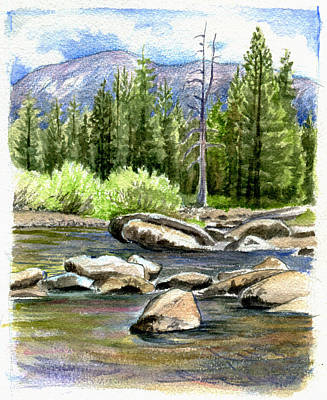 Watercolor Drawing - Tuolumne River With Mammoth Peak by Logan Parsons