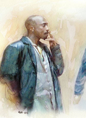 Jay-z Painting - Tupac 22 Detail by Jani Heinonen
