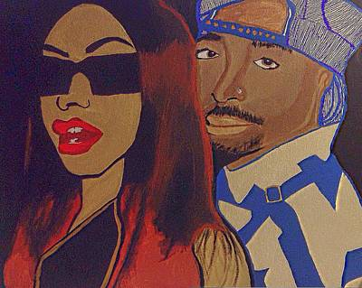 Hiphop Painting - Tupac And Aaliyah The Power Couple by Breanna Lewis