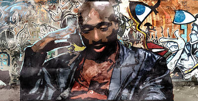 Evansville Drawing - Tupac Graffitti 1 by Jani Heinonen