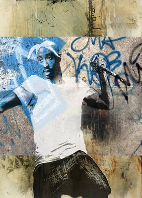 San Diego Artist Mixed Media - Tupac Graffitti 32 by Jani Heinonen