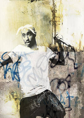 San Diego Artist Mixed Media - Tupac Graffitti 33 by Jani Heinonen