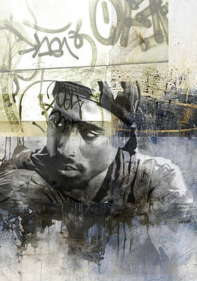 San Diego Artist Mixed Media - Tupac Graffitti 66 by Jani Heinonen