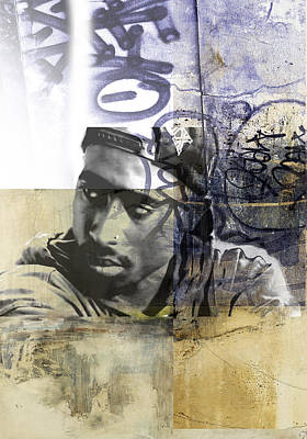 San Diego Artist Mixed Media - Tupac Graffitti 68 by Jani Heinonen