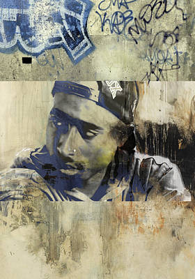 San Diego Artist Mixed Media - Tupac Graffitti 7278 by Jani Heinonen