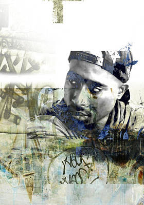 San Diego Artist Mixed Media - Tupac Graffitti 777 by Jani Heinonen