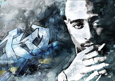 Evansville Drawing - Tupac Graffitti 9 by Jani Heinonen